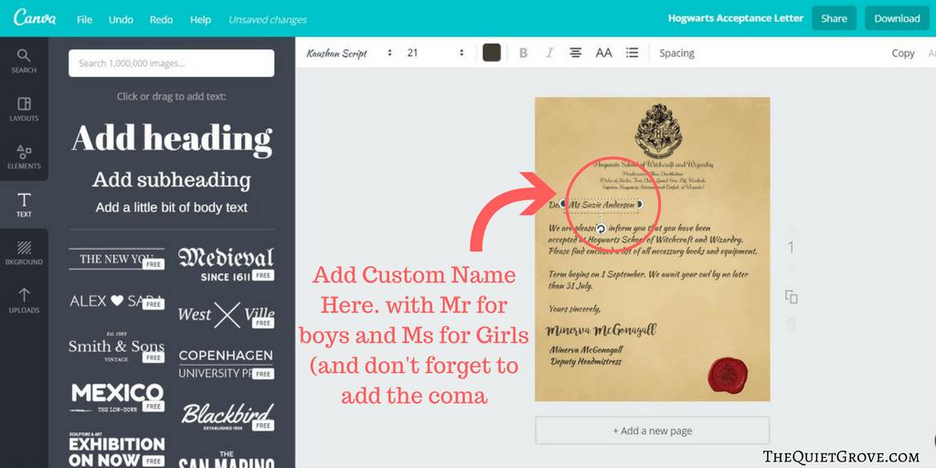 Harry Potter DIY Hogwarts Acceptance Letter & 1st Year