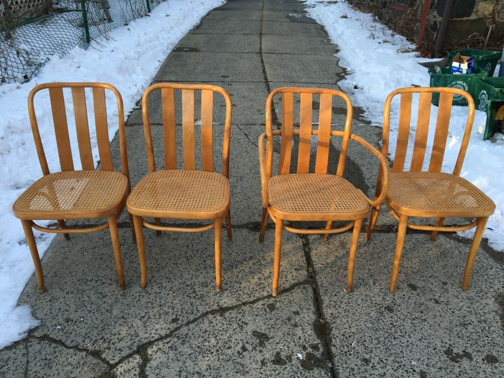 Coprisedie Thonet ~ 4 mid century modern thonet style bentwood dining chairs by zpm