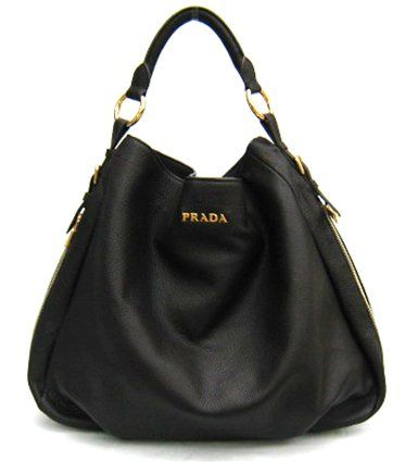 7bdad4f273e0 Amazon.com  Prada Bag Leather Hobo Black BR4099  Clothing. The established  top-handle ...