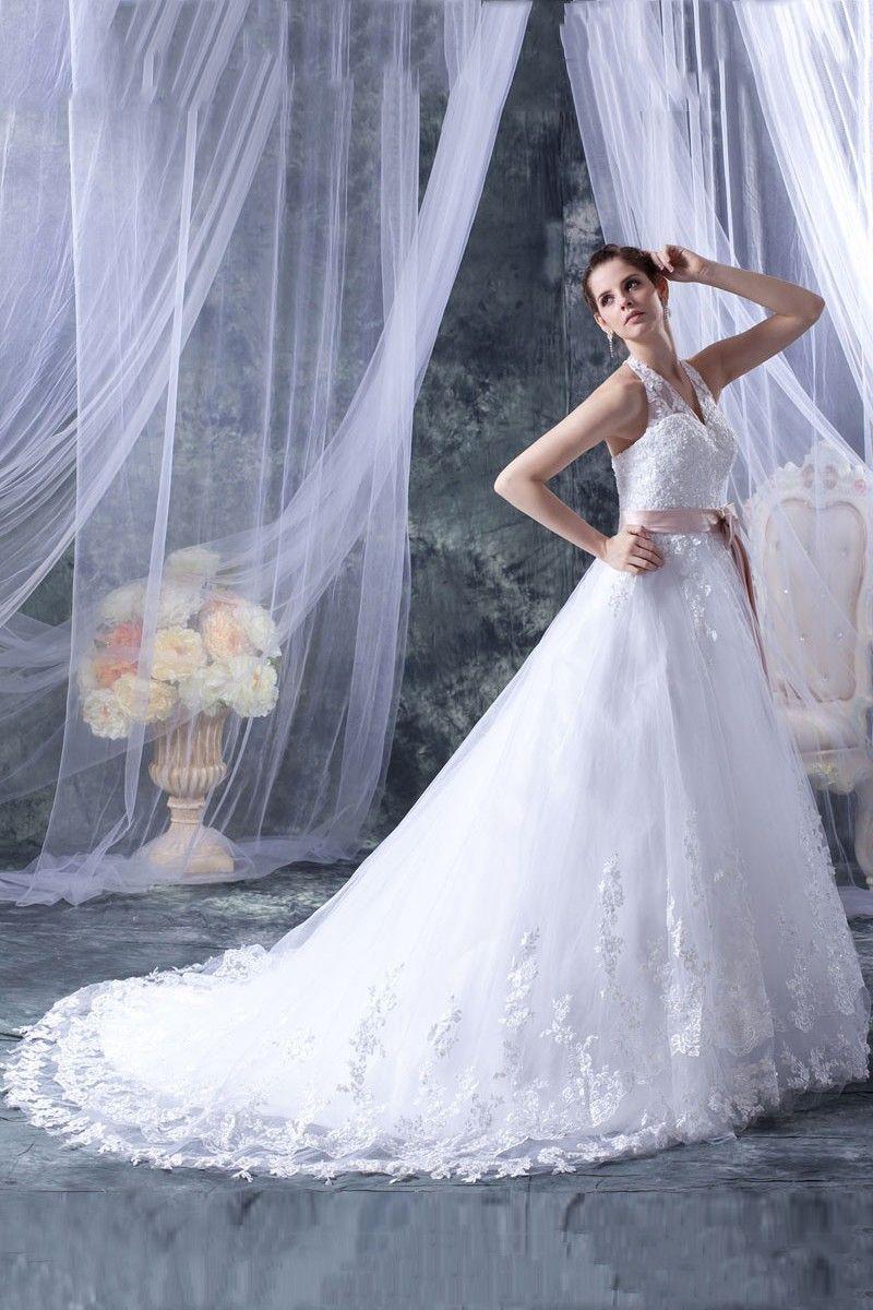 Aline white organza court train halter wedding dress novias y