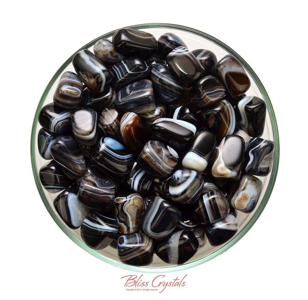 Black Agate Tumbled Stone: 1 One Crystal Healing Gemstone LARGE Piece