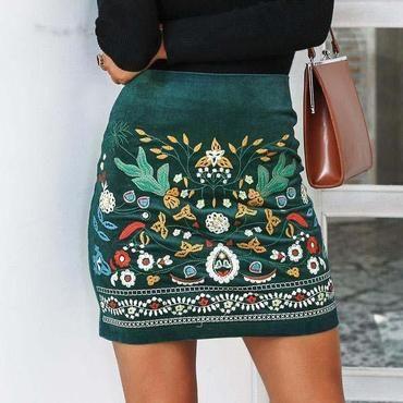 7d1fddffca Embroidery Mini Skirt - Dark Green   SKIRT BABE   High waisted skirt ...