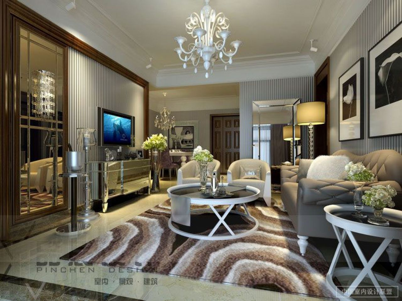 Luxury Living Rooms  Classic Luxury Living Room Designs Striped Alluring Wallpaper Living Room Ideas For Decorating Decorating Inspiration