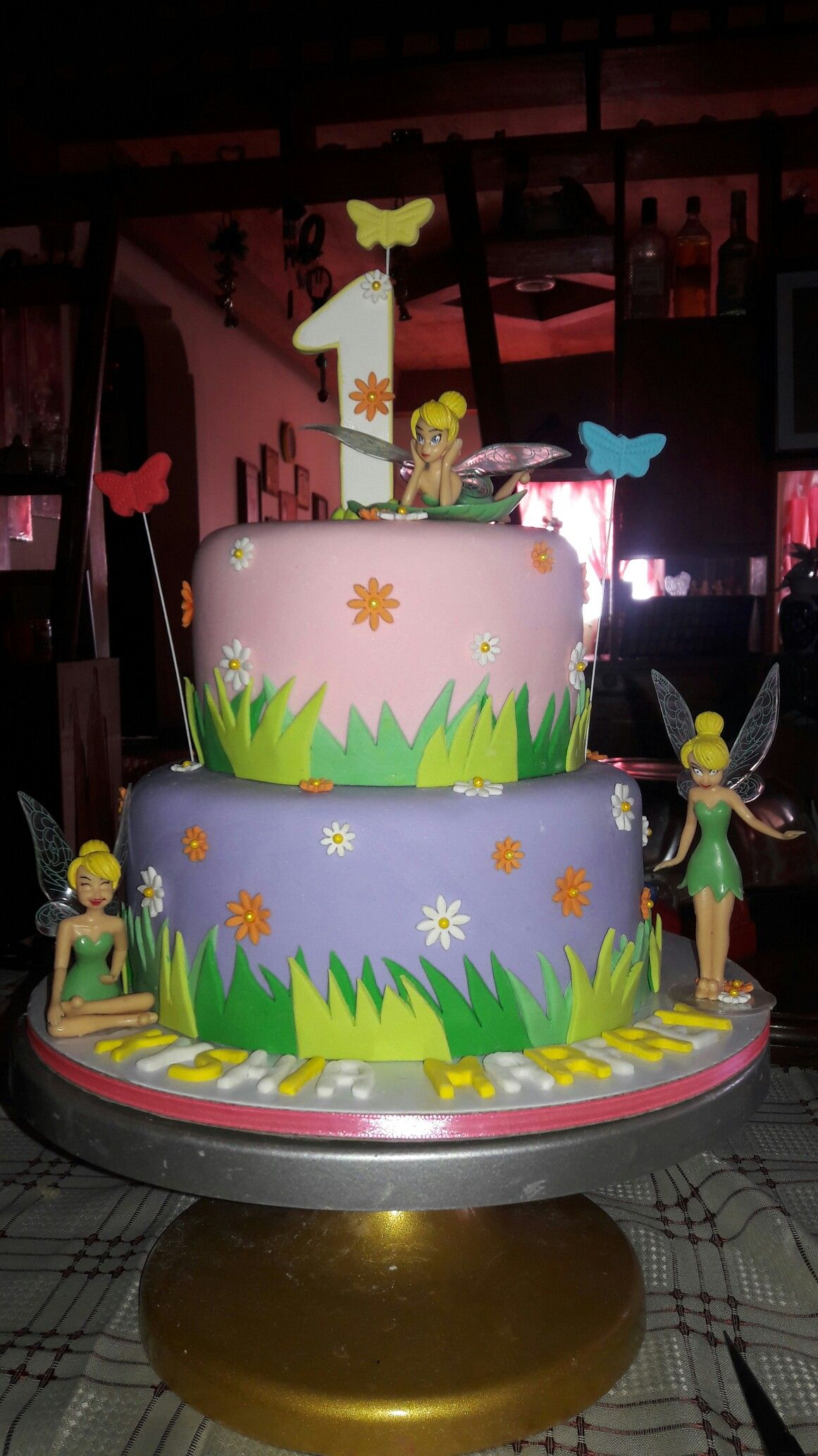 Tinkerbell Inspired 1st Birthday Cake Our Cake Projects