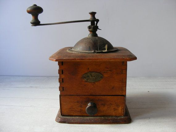 Vintage French wooden Coffee Grinder by by GrisSourisBrocante
