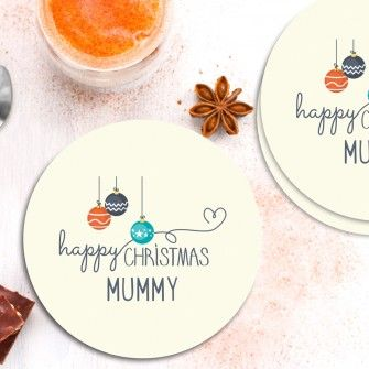 Personalised Round Coasters Happy Christmas