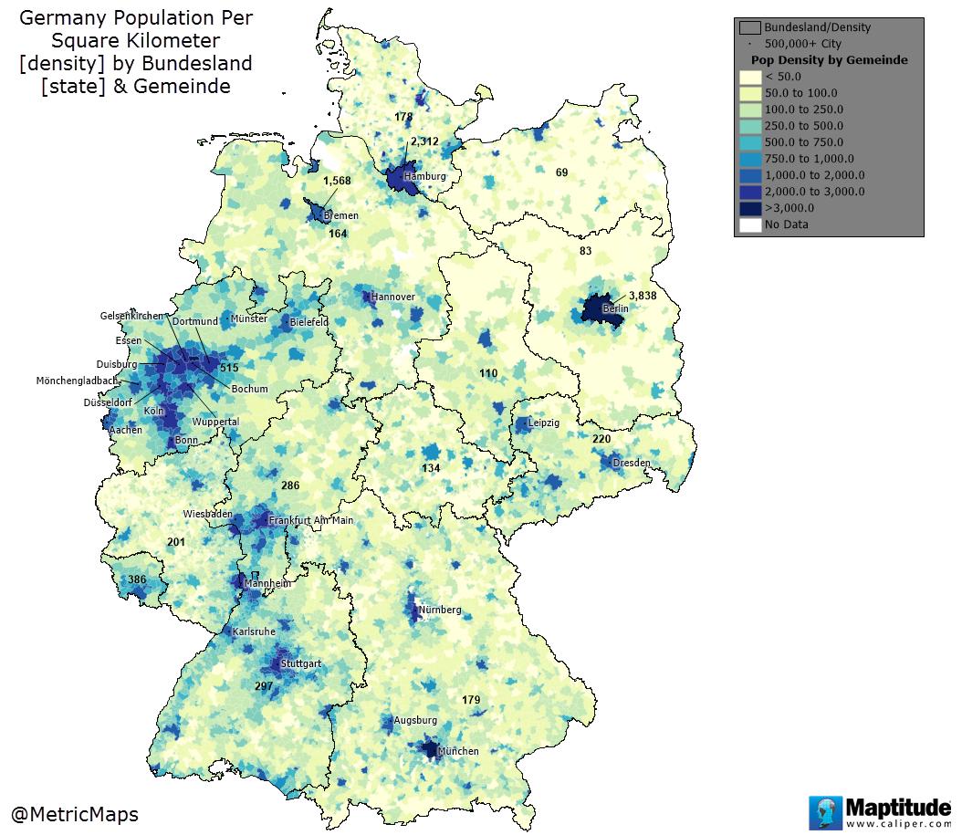 Population Density Map Of Germany.Germany Population Density Maps Map Germany Diagram
