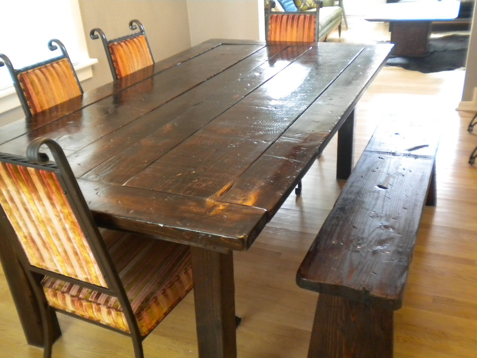 Oval Untreated Wooden Dining Table Set With Curved Bench And ... Rustic  Dining Room ... Part 71