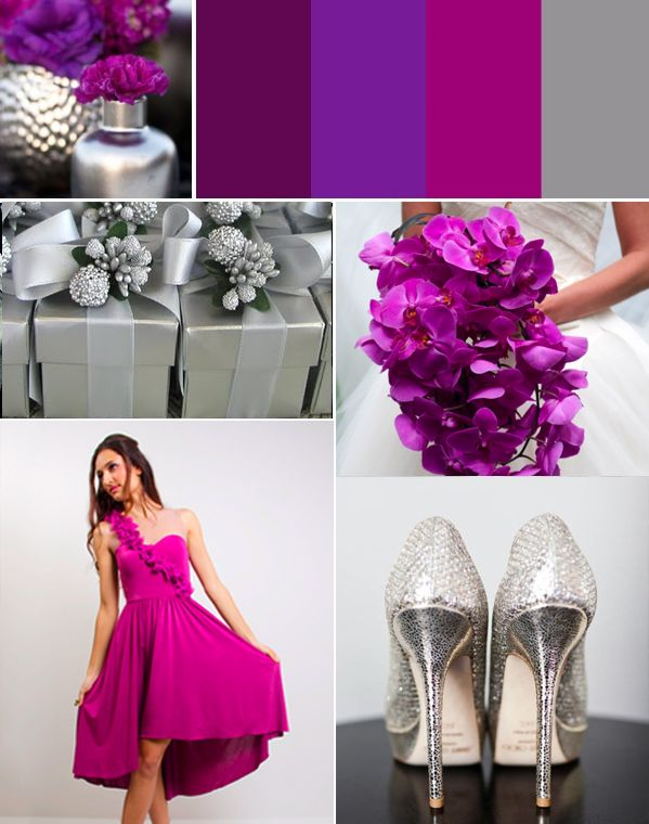 Magenta silver wedding palette cute bridesmaid dresses for Silver and purple wedding dresses