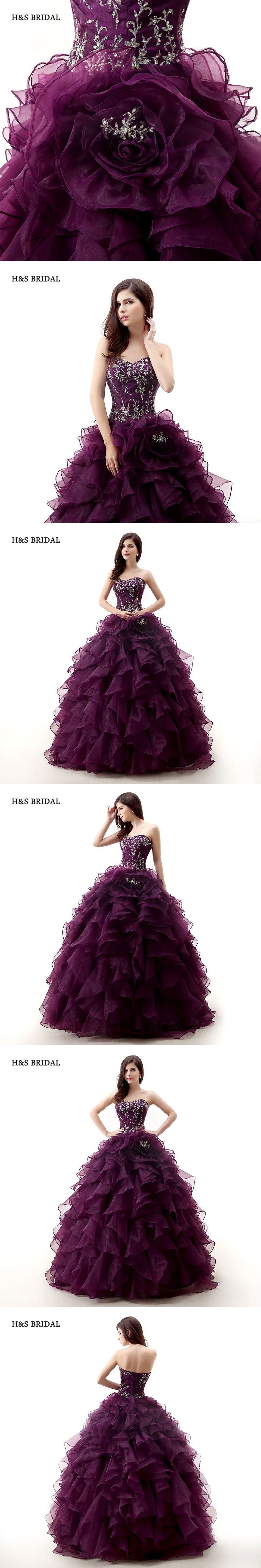 Hus bridal dark purple rose organza ball gown prom dresses