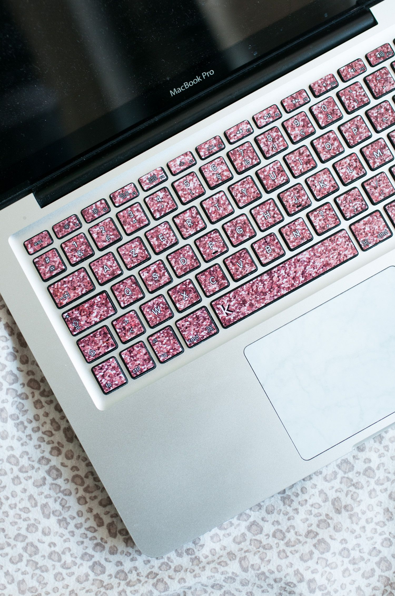 Make your home office fancy with this glittering keyboard decal rose pink faux glitter macbook keyboard decal ccuart Image collections