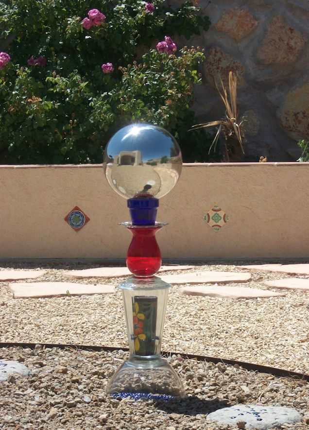 Gazing Ball Stand - You can also make these stands for bird feeders, bird baths or just funky garden totems!