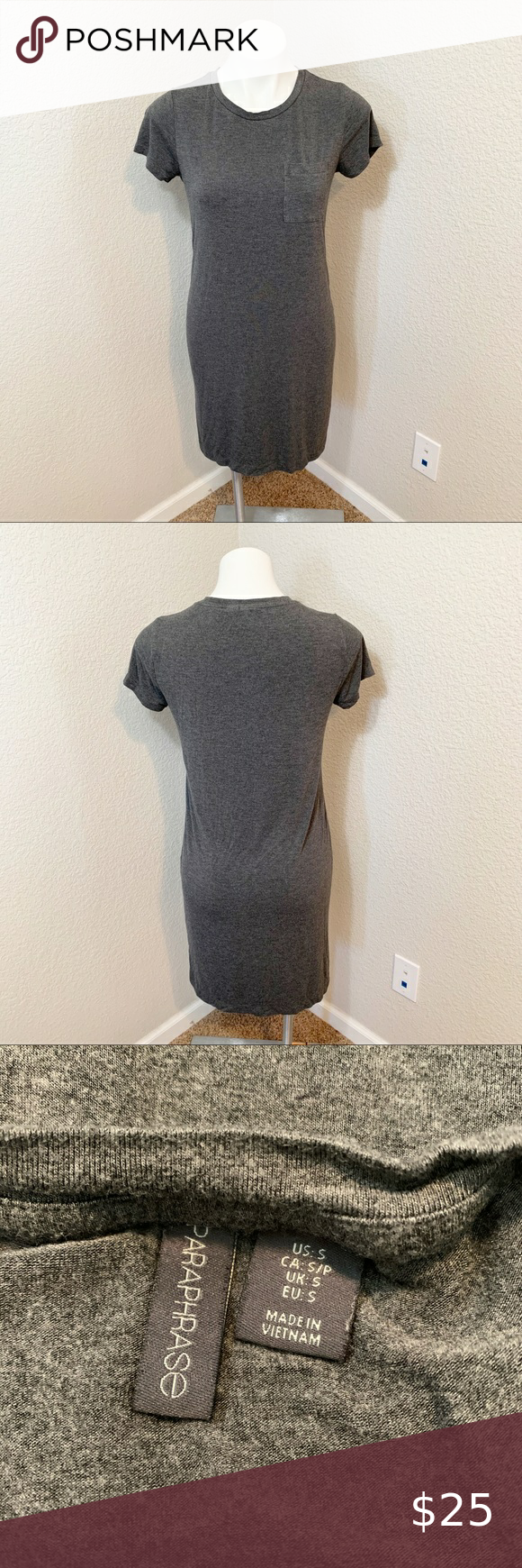 3 25 Paraphrase Dark Gray T Shirt Style Dres Tshirt Grey Dress