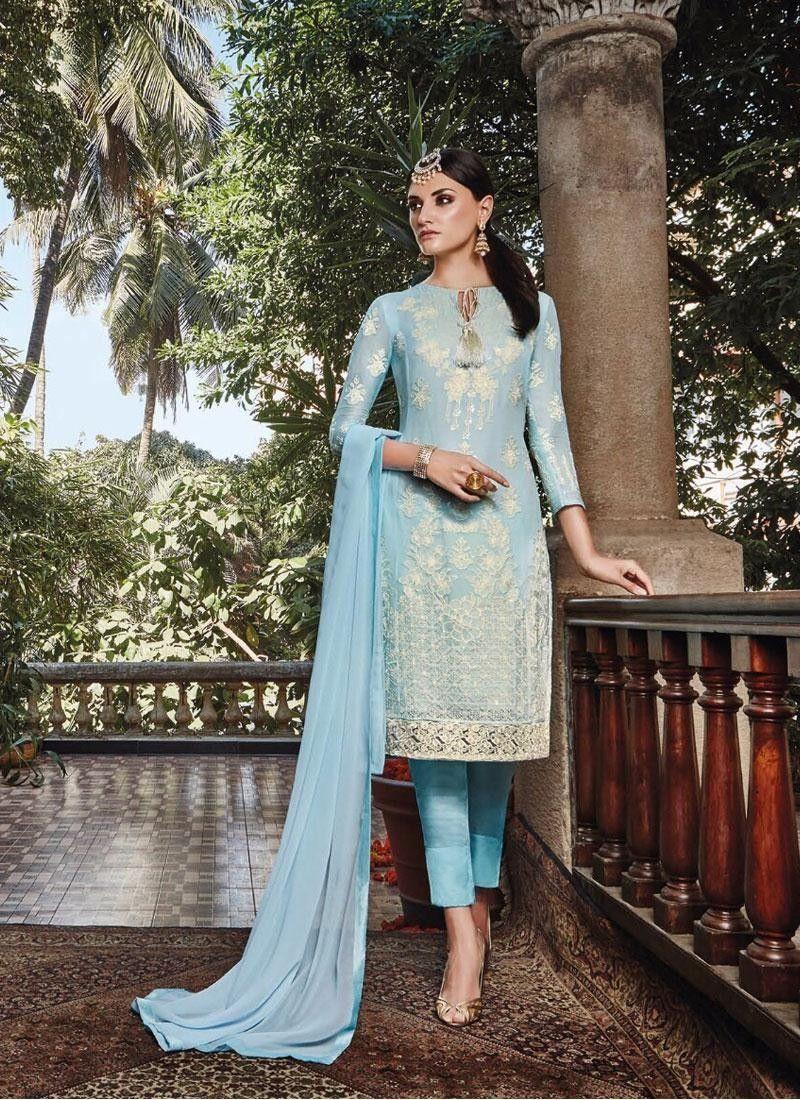 e6b97096f5 Designer Blue Cigarette Pant Salwar Kameez - Embroidery Salwar Kameez - Salwar  Kameez