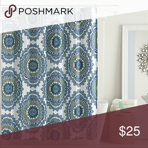 Anthology Bungalow Shower Curtain In Teal This Is A Medallion Pattern With Colors Of Navy Green And White Base