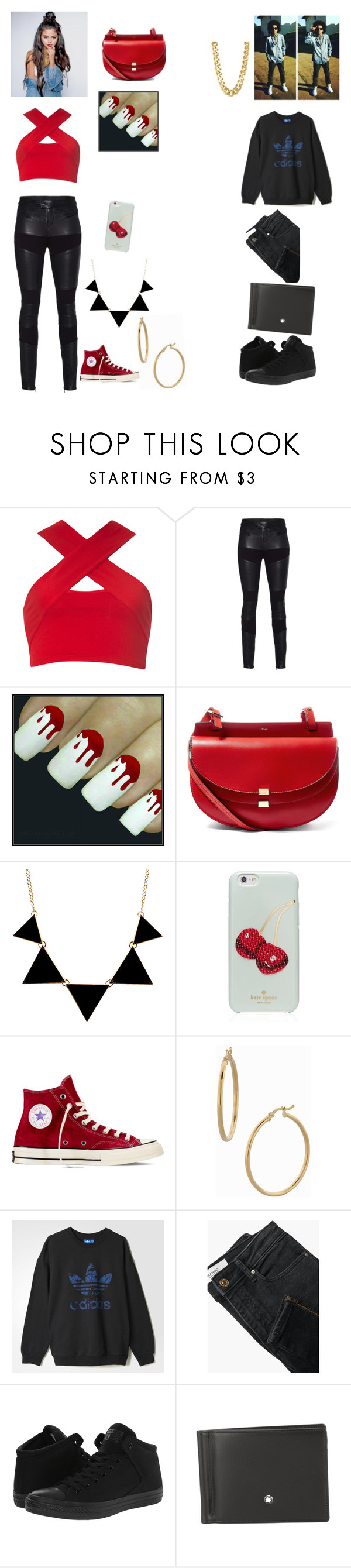 """""""Meeting up with friends"""" by leabush ❤ liked on Polyvore featuring Motel, TIGHA, Chloé, Kate Spade, Converse, Bony Levy, adidas, MANGO, Montblanc and CC SKYE"""