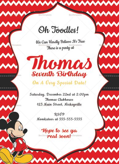 Editable Mickey Mouse Birthday Invitation Card Design Template