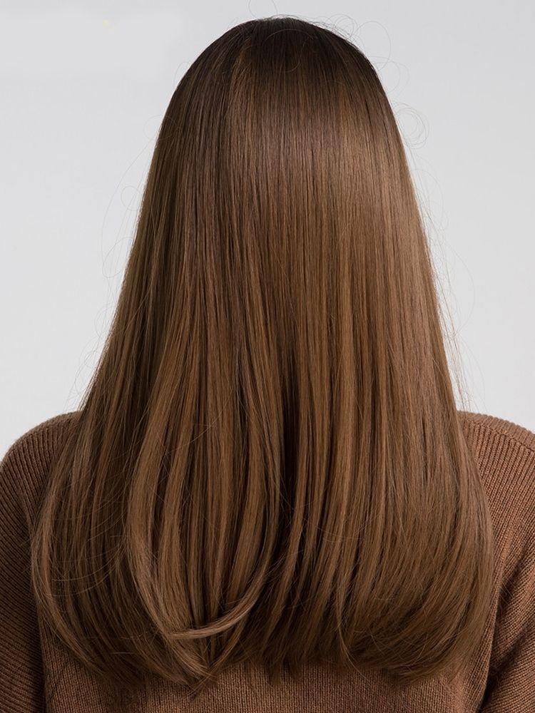 Langes glattes synthetisches Haar mit Pony Frauen Perücke 20 Zoll – Langes glat…