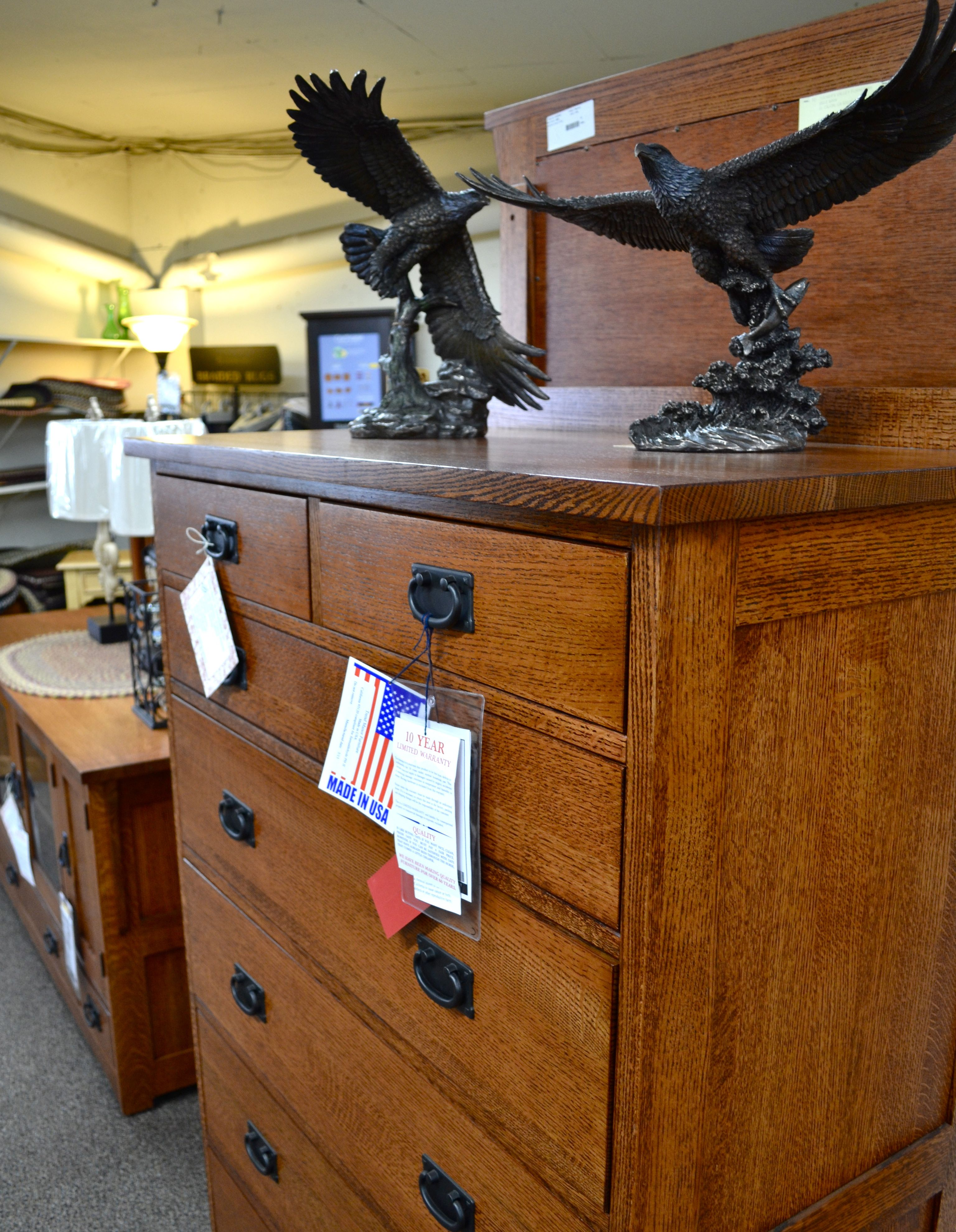 Mission or craftsman style woodwork detail on a dresser at