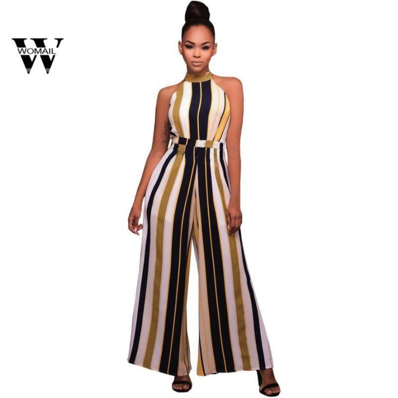 f120b78d288 2018 summer hot sale women sleeveless turtleneck stripes high waist flared jumpsuits  rompers wide leg pants