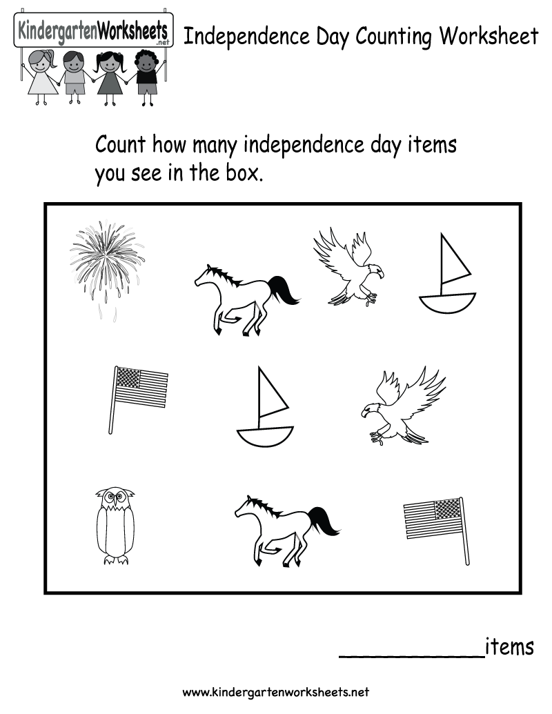 Kindergarten Independence Day Counting Worksheet Printable Holiday Worksheets Counting Worksheets Worksheets Free [ 1035 x 800 Pixel ]