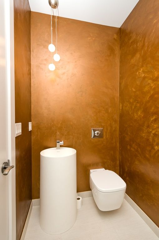 Contemporary Powder Room With Powder Room Brushed Copper Metallic - Faux limestone tile