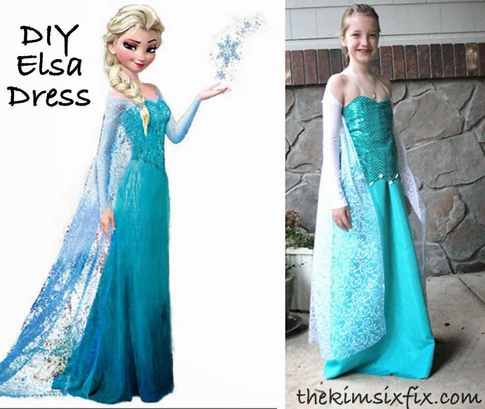 DIY Elsa Dress (From Frozen) | Eiskönigin, Elsa und Mottoparty