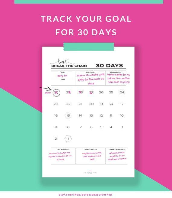 Don't Break the Chain Habit Building Tracker 30 Day – 60 Day / Goal Planner Countdown Calendar Insert Printable