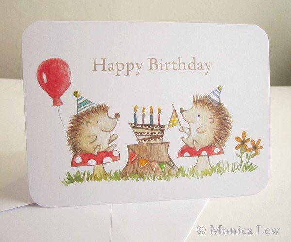 Birthday Card Hedgehog Party 375 Via Etsy Holiday