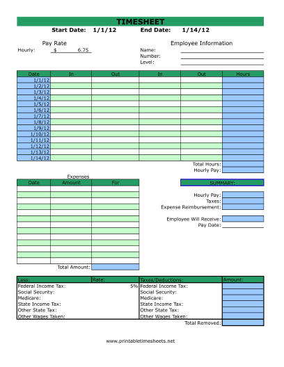 Timesheet With Expenses Printable Time Sheets Free To Download