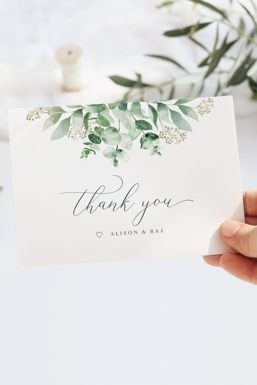 Thank You Card Template Eucalyptus Printable Greenery Wedding Thank You Cards Botanical Watercolor Custom Thank You Note In 2021 Wedding Thank You Cards Thank You Cards Thank You Card Template Thank you note cards template