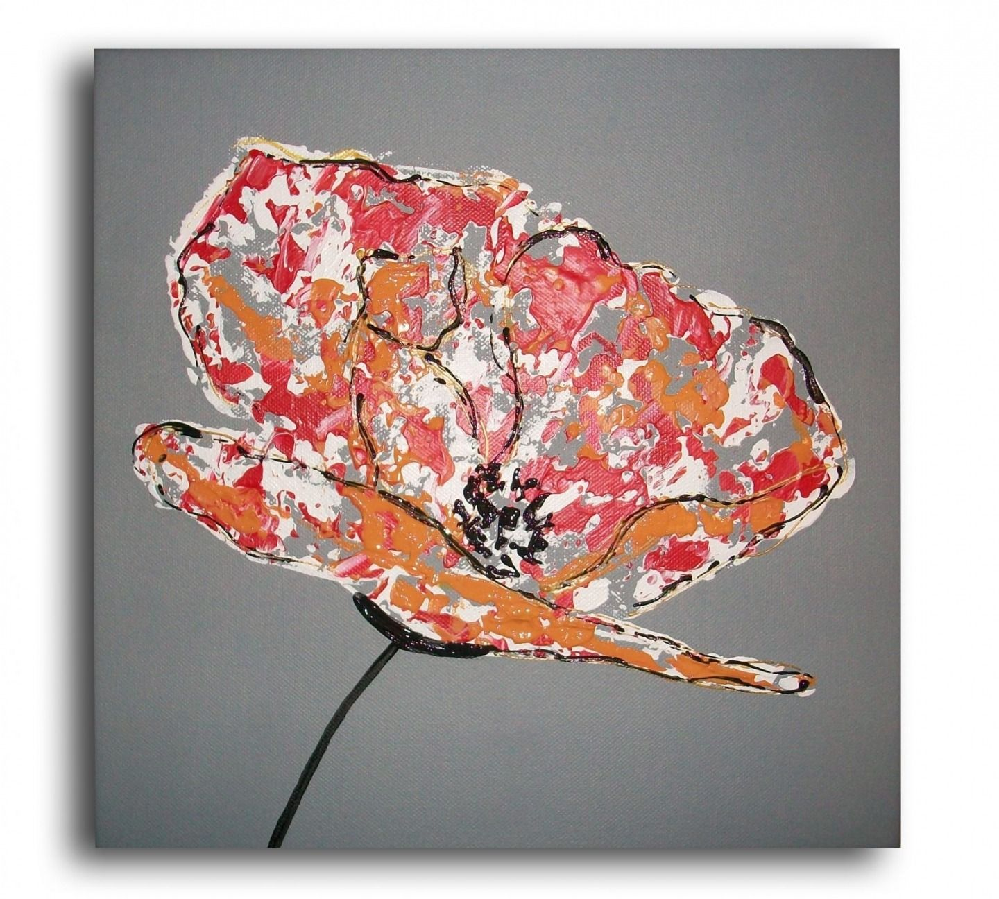 tableau toile coquelicot fleur rouge blanc gris moderne contemporain a fleurs rouges. Black Bedroom Furniture Sets. Home Design Ideas