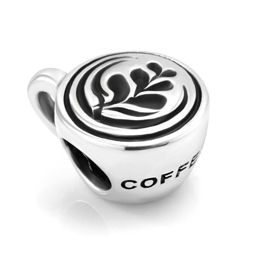 6b95546b9 Sterling Silver Nice Coffee Cup with Rosetta Latte art on Top Bead Charm  Fits Pandora Bracelet: Jewelry