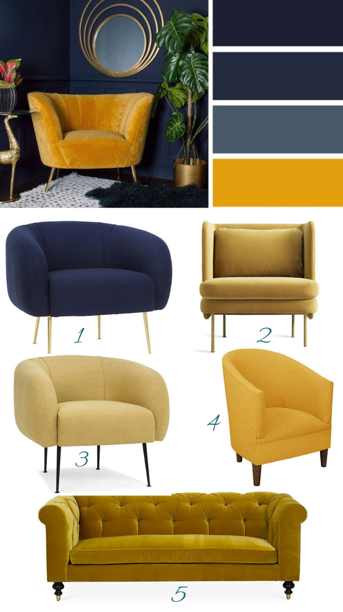 Navy Blue And Mustard Yellow Decor Yellow Accent Chairs Mustard