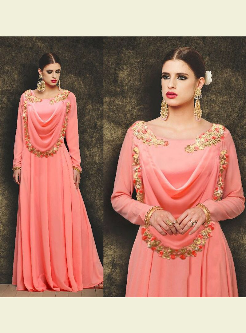 Pink Georgette Readymade Long Gown 120284 Online Shopping Websites 7ccb32d68d