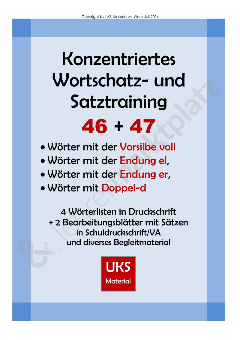 Konzentriertes Wortschatztraining 46 und 47 | UKS-Material ...