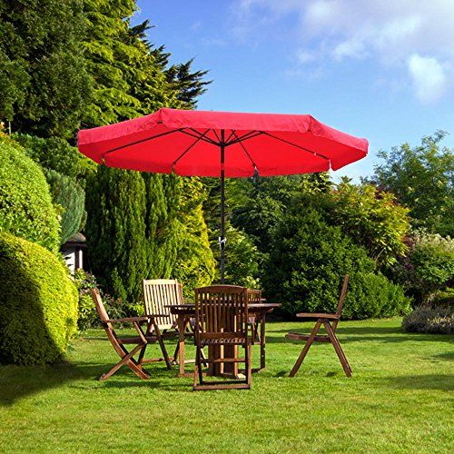 Outdoor Patio Umbrella W/ Crank. ON GRASS. No Stone/deck