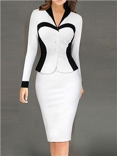 Ericdress Color Block Patchwork V-Neck Sheath Dress   Bonequinha de ... 554672bd32