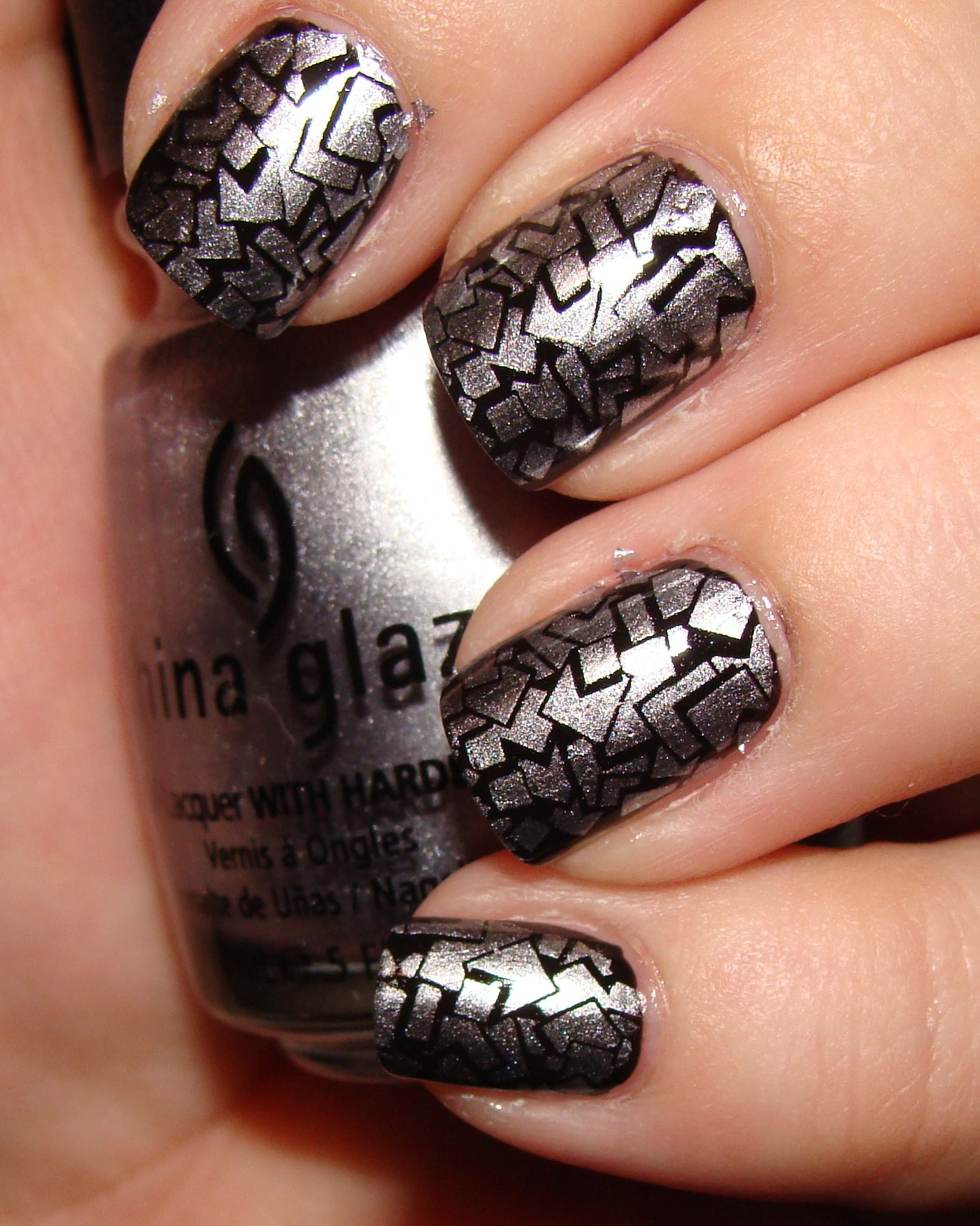 Silver Polish Black Stamping From Konad Nail Art Stamper Video Tutorial On Beautopia Beauty Pinterest