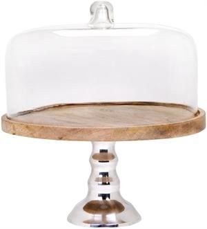 Anderson Large Metal And Wooden Cake Stand With Glass Dome Dia 15