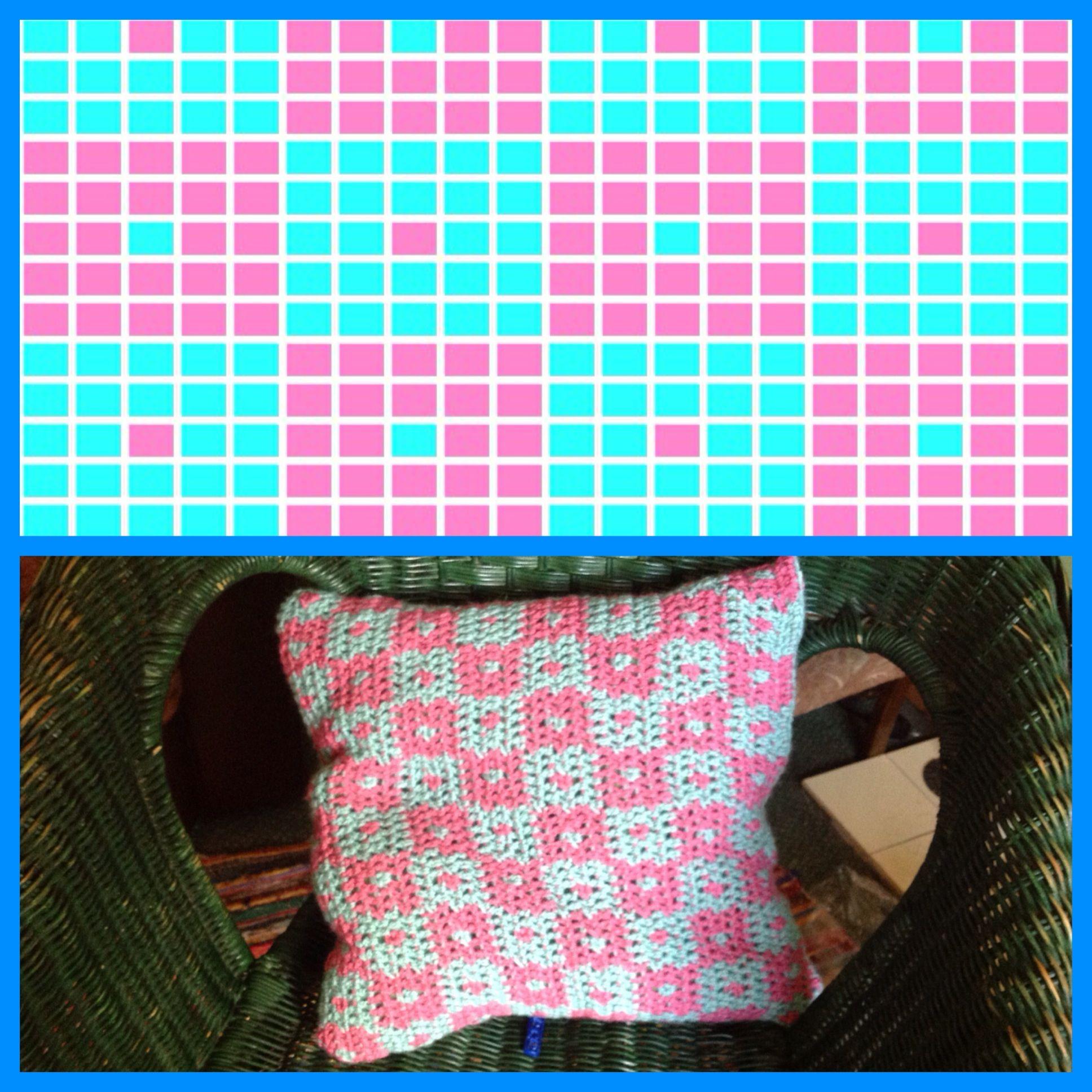 Cushion tapestry crochet grid pattern kussens pinterest
