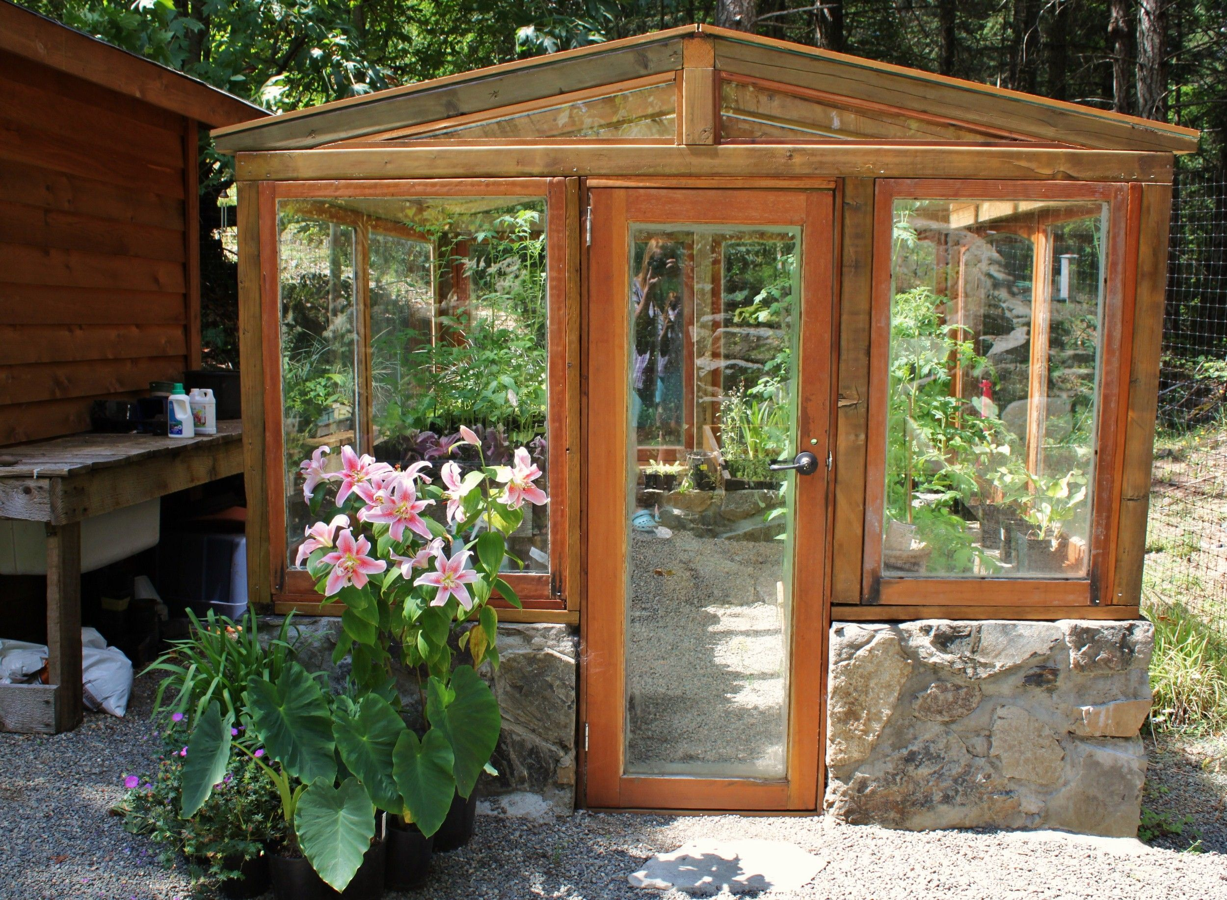 greenhouse with a stone wall base made with recycled windows and door constructed for