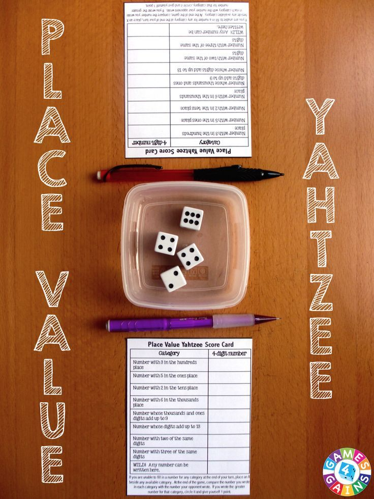 Place value yahtzee game games 4 gains fifth grade