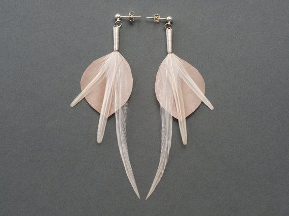 #SALE Shiny Bridal Leaf Feather #Earrings in Nude Cream by Still Tree #Jewelry on #Etsy