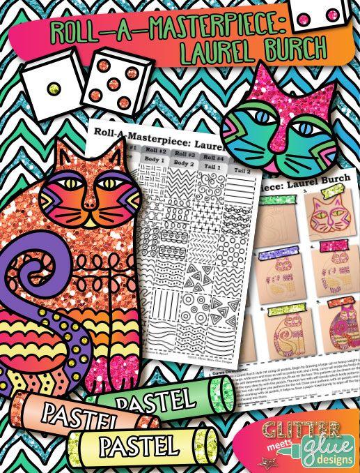 Art Lesson Laurel Burch Cats Folk Art History Game & Art