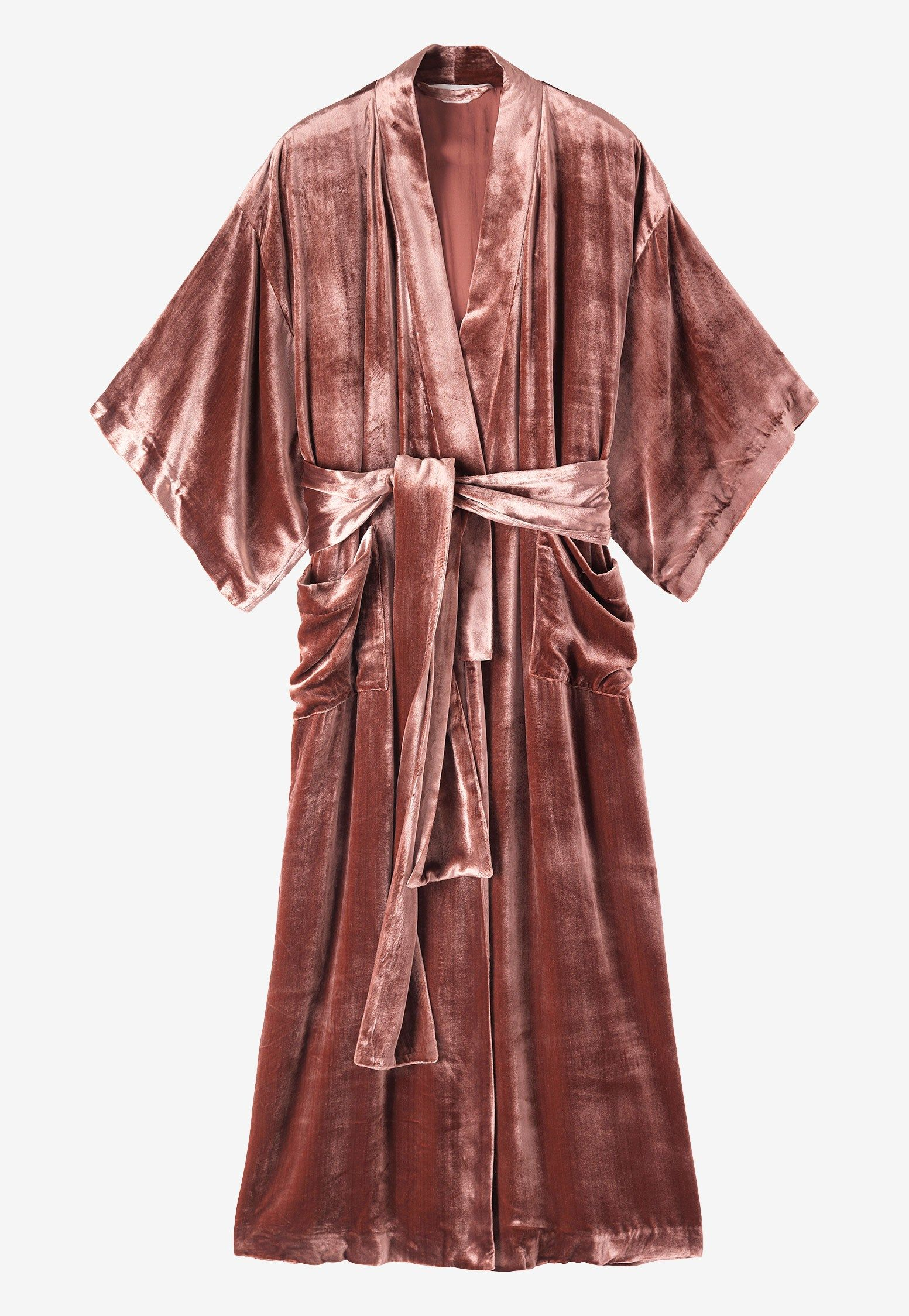 Sumptuous long gown with traditional kimono sleeves in a fluid silk ...