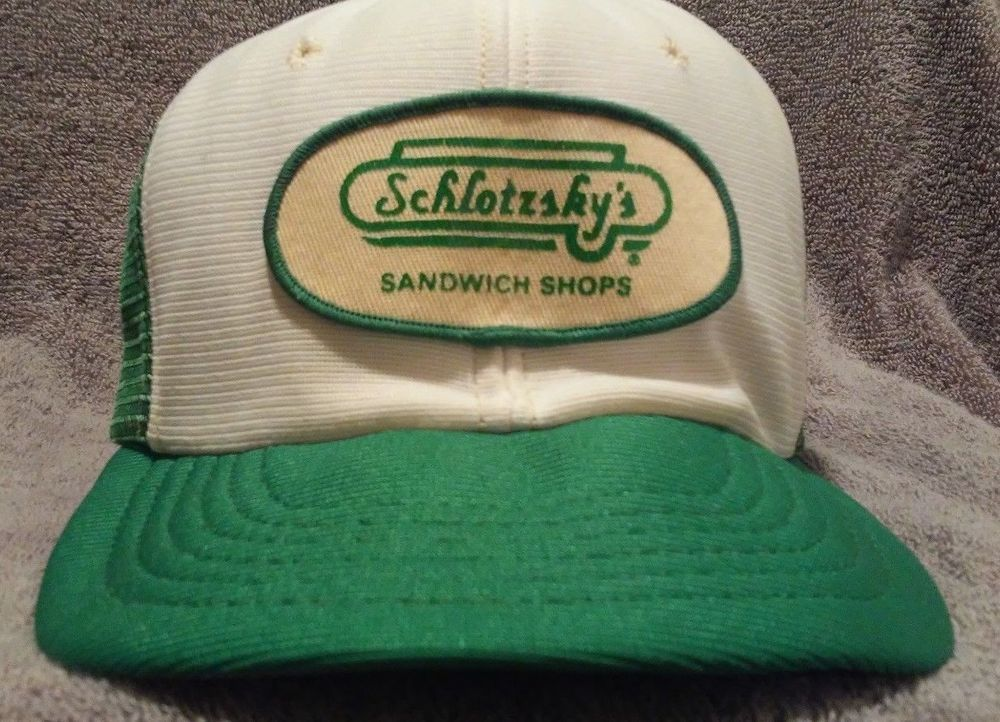 025268d75f983e Schlotzsky s Sandwich Shops Patch Trucker Snapback Hat Cap Vtg Foam Green  White  na  TruckerCapHat