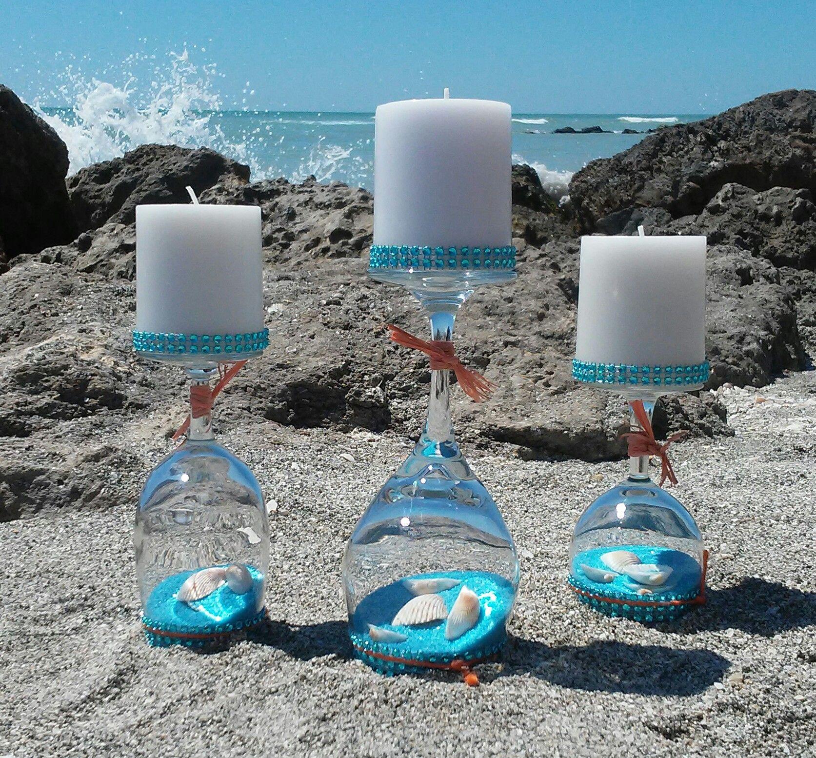 Photo of Foto scattata a Caspersen Beach a Venice, FL. 3 candele rovesciate in vetro …