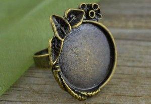 [10344] Ozdobna baza pierścionka w kolorze brązu na kaboszon 20mm