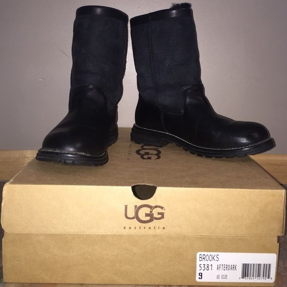 UGG boots - brooks short Black half leather/half suede UGG boots. Hardly worn - great condition! UGG Shoes Winter & Rain Boots